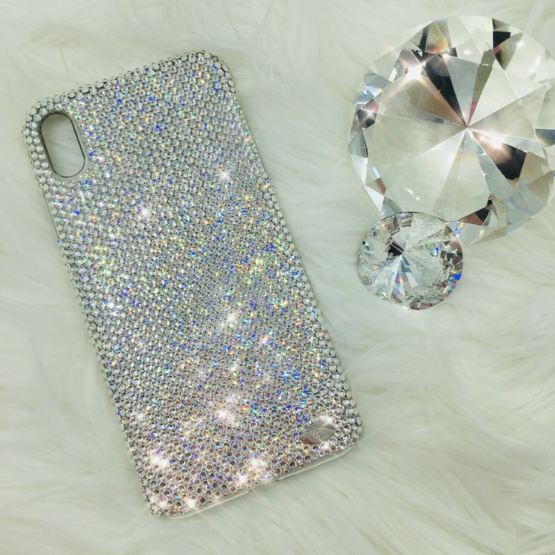 quality design 5897f 15bcc For iPhone Xs Max - Small 12ss Clear Crystal Diamond Rhinestone BLING Back  Case handmade with 100% real Swarovski Crystals
