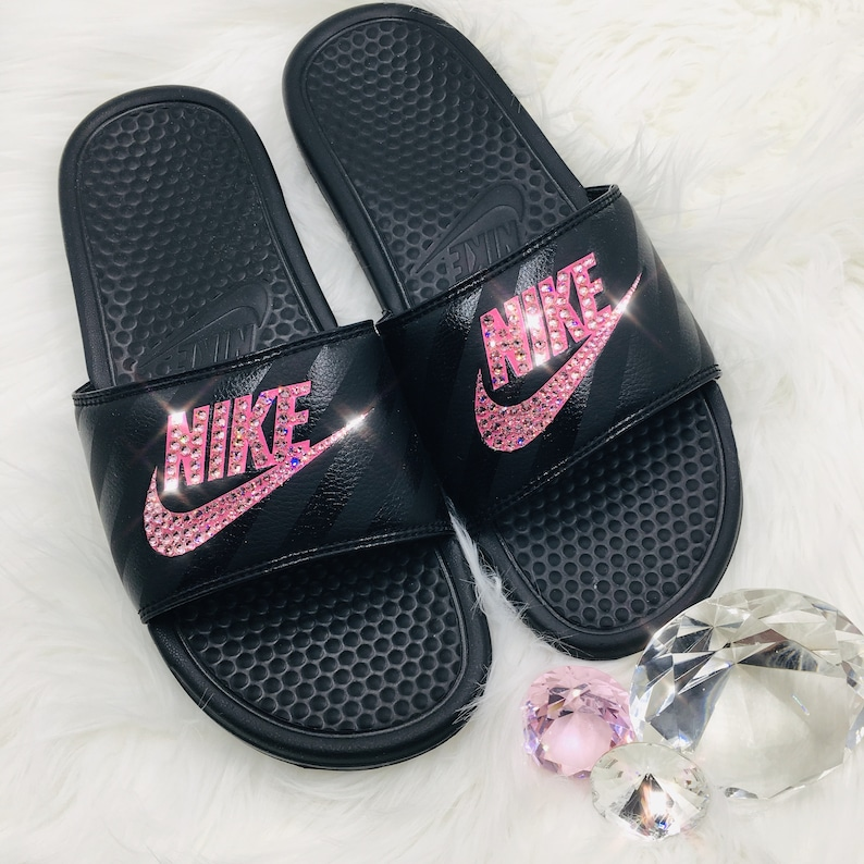 561187740dc9 NEW Bling Nike Benassi JDI Slides with Swarovski Crystals