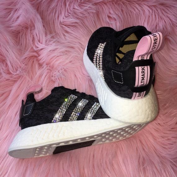 Swarovski Bling Adidas NMD avec cristaux Swarovski Noir et Rose Chaussures décontractées NMD R2 Runner Pour les femmes (