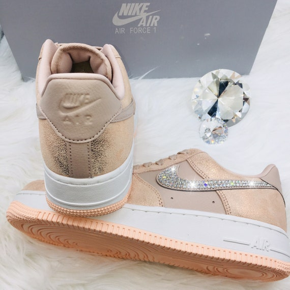 3735e54e87cd0 NEW Bling Nike Air Force 1 '07 Premium Shoes with Swarovski Crystals *  Particle Pink / Rose Gold / Copper