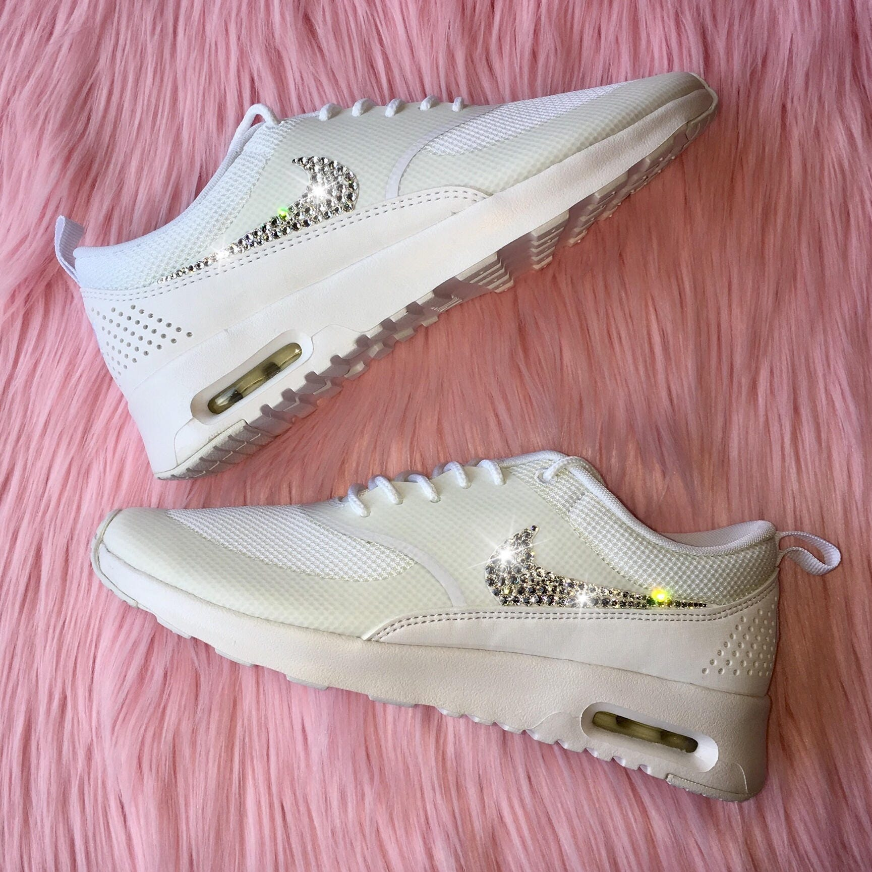 Bling Nike Shoes with Swarovski Crystals * Nike Air Max Thea In ALL WHITE Bedazzled with 100% Authentic Swarovski Crystal Rhinestones