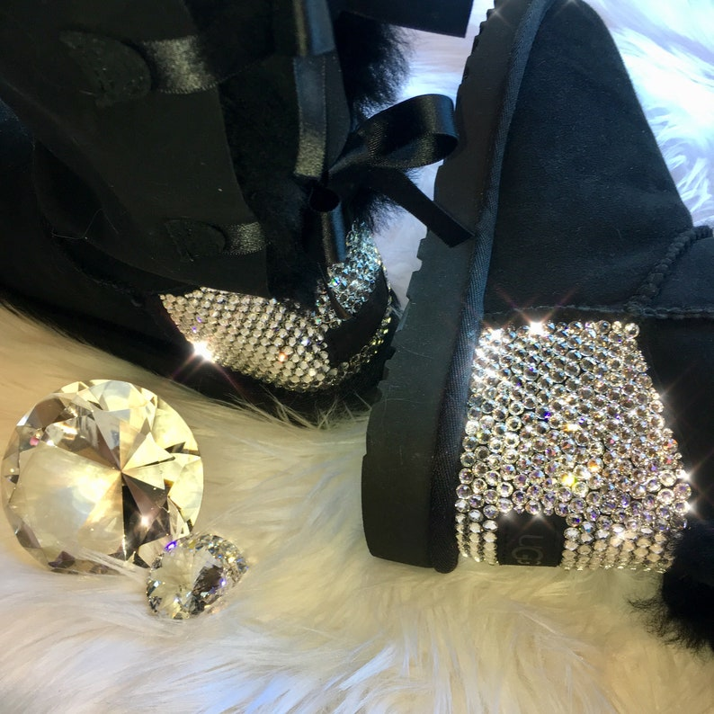 32e84c32ff1 Bling Ugg Bailey Bow II Boots - Black customized by hand with SWAROVSKI®  Xirius Rose-Cut Crystals Handmade by MyBlingThingz