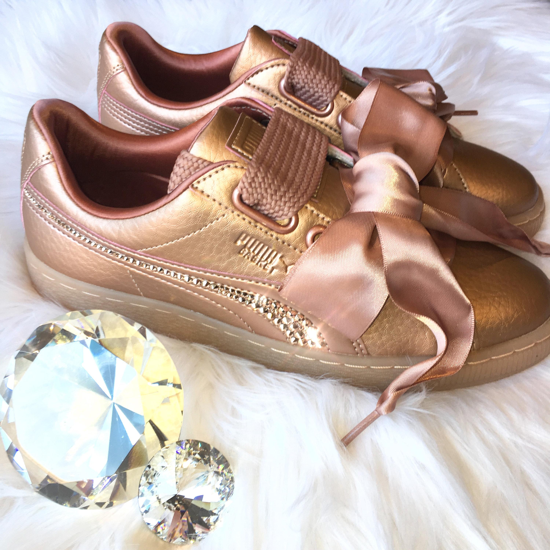 a1f95834a0793 Rose Gold Swarovski Bling PUMA Basket Heart Copper Rose Shoes * Handmade by  MyBlingThingz