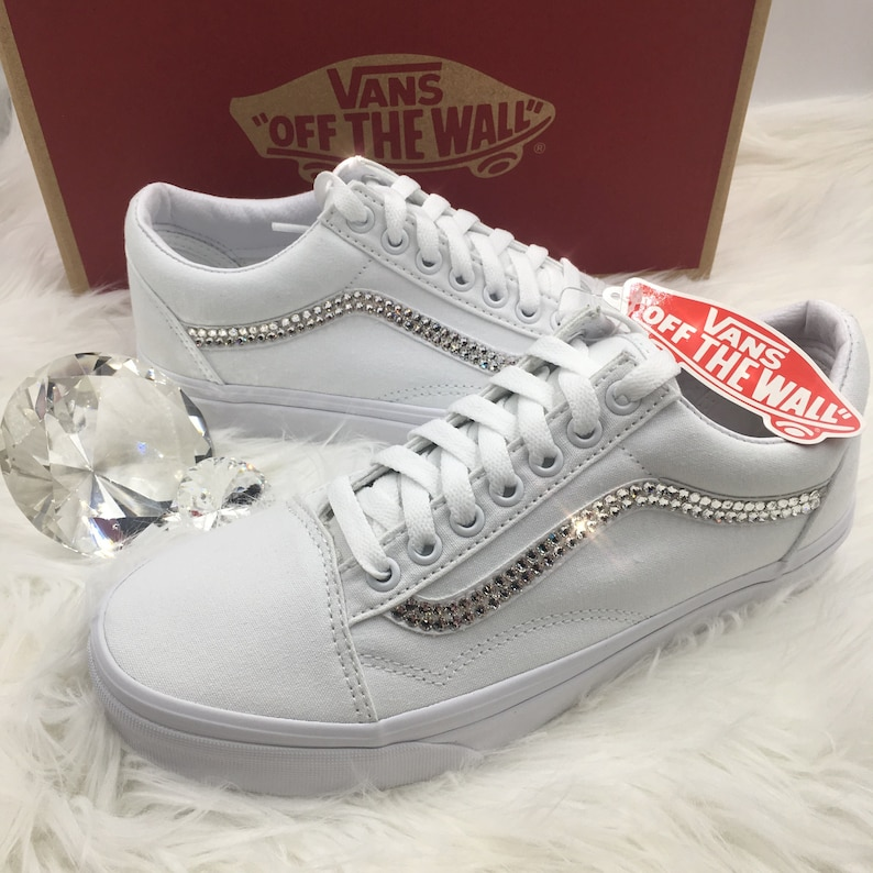 649f48aaba81b Swarovski Vans Old School Women's Skate Shoes Blinged out with SWAROVSKI®  Crystals Bling Vans in Classic White