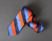Mens Stripe Tie. Ben Sherman. Silk Tie. Orange Blue Black Tie. Office Tie. Dress Tie. Gogovintage. Free Shipping