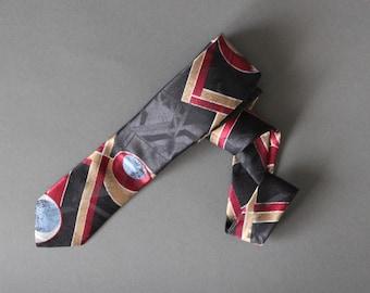 Gogovintage Dress Tie New Wave Tie Black Gold Pattern Tie Free Shipping 80s Skinny Tie