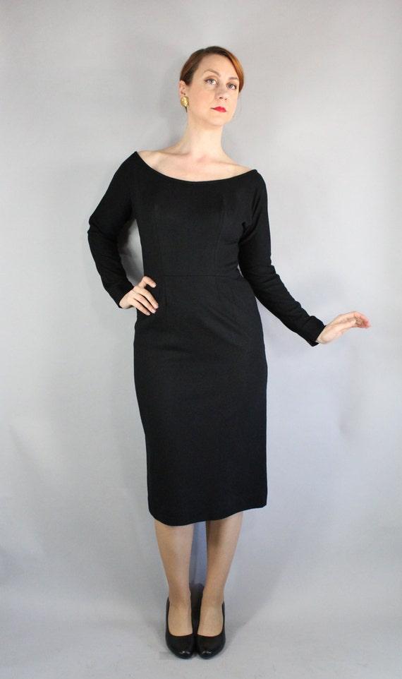 50s Black Wiggle Dress Little Black Dress Vlv Knee Length Etsy