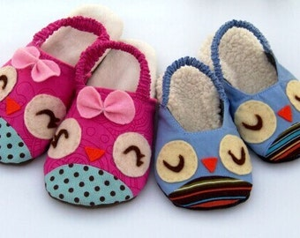 Owl Sewing Pattern Slippers for children PDF DOWNLOAD -Size 6-12 1/2 USA/Canadian - (Approximately age- 24 months-5 years old)