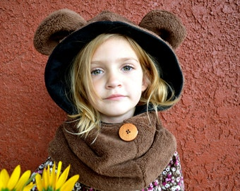 Children's Sewing Patterns, Hoodie with Ears Sewing Pattern, Animal Hoodie, Winter Fleece Animal Hat Pattern, Girls Hat Pattern, Boy Pattern