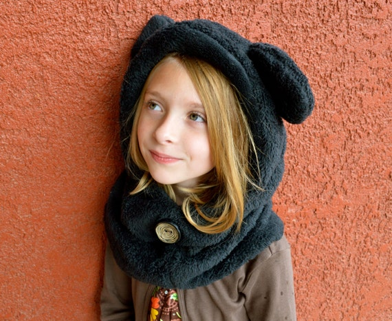 Fleece Hat Sewing Pattern Hoodie Cowl Winter Hat PDF Instant