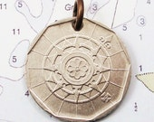 Portugal, Vintage Coin Charm Compass Rose Unchartered - Wanderlust - Adventure - Exploration - High Seas - Maritime - Nautical