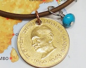 India, Vintage Coin Necklace Mahatma Gandhi Peace - Nonviolence - Kindness - World Peace - Be the Change - Spiritual - Namaste