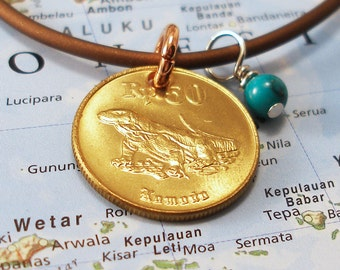 Indonesia, Authentic Coin Necklace --- Komodo Dragon --- Herpetology - Reptiles - EcoTravel - Mixed Metals - Dragon Jewelry - Animal