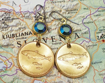 Slovenia, Authentic Coin Earrings --- The Heart of Europe --- Republika Slovenija - Alpine Lakes - Trout Fishing - Fly Fishing - Nature