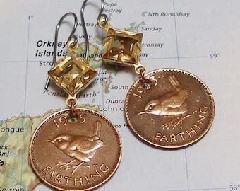 United Kingdom, Vintage Coin Earrings --- Sweet Little Birds --- British Wren - UK - Songbird - Birdwatching - Ornathology - Nature