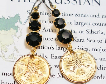 Russia, Authentic Coin Earrings --- Double Headed Eagle --- Russian Rubles - Roubles - World Treasure - Travel - One of a Kind