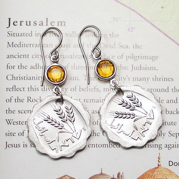 Httpwww Overlordsofchaos Comhtmlorigin Of The Word Jew Html: Israel Vintage Coin Earrings The Holy Land Jewish