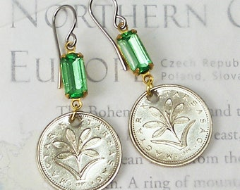 Hungary, Vintage Coin Earrings --- Rare Flower --- Hungarian Crocus - Spring Flower - Garden - Travel Gifts - Botany - Earth Day