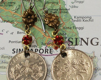 Singapore, Coin Earrings --- Fragrant Flowers --- Summer Party - Garden Party - Jasmine - Exotic Flower - World Travel - One of a Kind