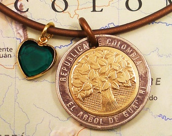Colombia, Vintage Coin necklace --- Raintree --- Ecology - Nature - World Travel - Mother Earth - Earth Day - Coin Pendant - Plant a Tree