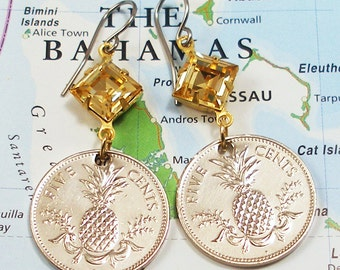 Bahamas, Coin Earrings --- Welcome to the Bahamas --- Pineapples - Summer Party - Welcome - Hospitality - Caribbean Sea - Beach Jewelry