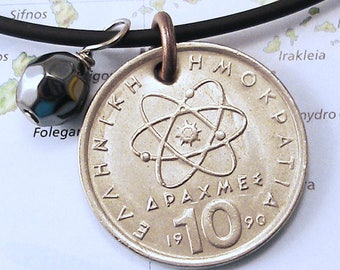 Greece, Vintage Coin Necklace --- Atomic Theory --- Greek Coin - Science Geek - Atomic Engery - Greek Philosopher - Reversible - Athens