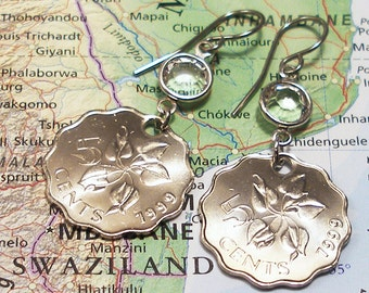 Swaziland, Authentic Coin Earrings --- Native Flower --- African Garden - World Traveller - Funny Money - Summer Outdoors - Garden - OOAK