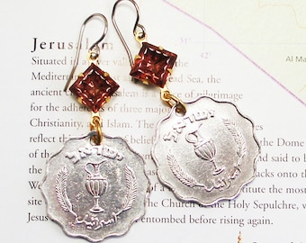 Israel, Vintage Coin Earrings --- Feast of Booths --- Sukkot - Celebration - World Traveller - ReCycled - UpCycled - Israeli Coins - Judaica