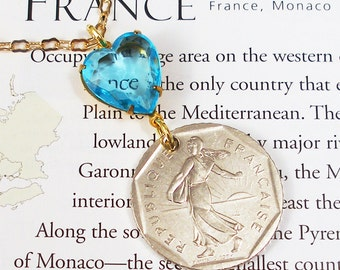 France, Vintage Coin Necklace --- La Semeuse --- The Sower - Marianne - Positive Future - French Coin - Paris - Be a Traveler - Mixed Metals
