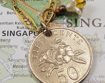 Singapore, Vintage Coin Necklace --- Summer Flowers --- Traveller - Global Travel - Garden - 1985 - Springtime - Tropical Garden - OOAK