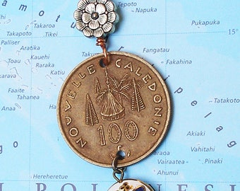 French Polynesia, Vintage Coin Necklace --- Bora Bora -- Island Paradise - Far Away Places - Exotic Places - World Treasures - One of a Kind