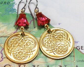 Guyana, Vintage Coin Earrings --- Tropical Rainforest --- Water Lilies - Wetlands Conservation - Tropical Flowers - Garden Flowers - Travel