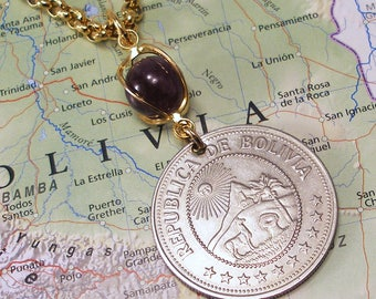 Bolivia, Vintage Coin Necklace --- Protecting Mother Earth --- Environmental Protection - Natural Resources - World Treasures - Green Earth