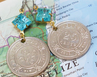 Belize, Authentic Coin Earrings --- Natural Wonders --- Scuba Dive Vacation - Eco Travel - Coral Reef - Tropical Vacation