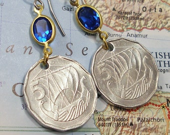 Cyprus, Authentic Coin Earrings --- Ancient Sailing Ship -- Uncharted Waters - Seafaring Sailors - Maritime History - High Seas - Bon Voyage