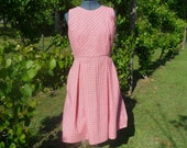 Red Dot Bias Cut Cotton Dress with Pockets