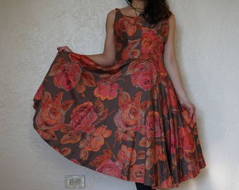 Vintage 1960's day dress // brown with orange roses // circle skirt // sleeveless style // Derby of California