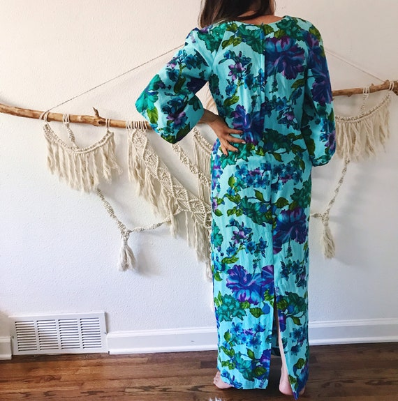 Vintage 60s floral Hawaiian dress, blue green flo… - image 2