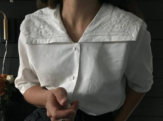 Vintage Laura Ashley Linen sailor blouse,