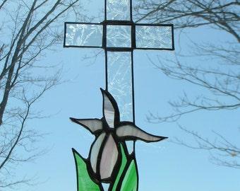 lady slipper/cross stained glass suncatcher