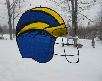 Michigan helmet stained glass suncatcher