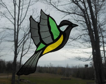 Great Tit stained glass suncatcher
