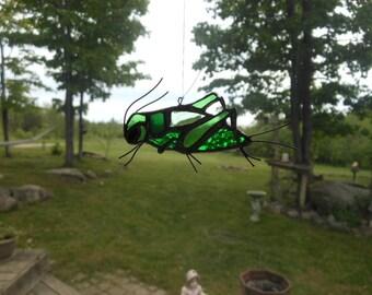 cricket stained glass suncatcher