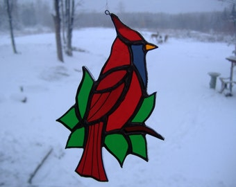 cardinal/leaves II, stained glass suncatcher