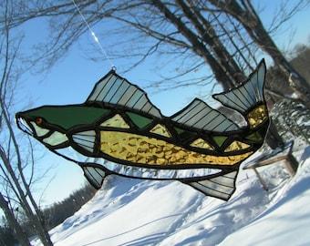 walleye, stained glass suncatcher