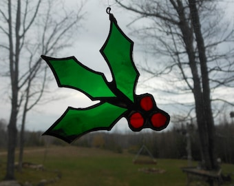 holly stained glass suncatcher