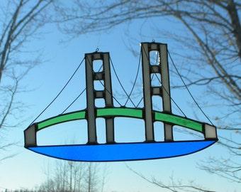 Mackinac Bridge stained glass suncatcher