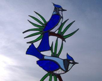bluejays/pine needles, stained glass suncatcher