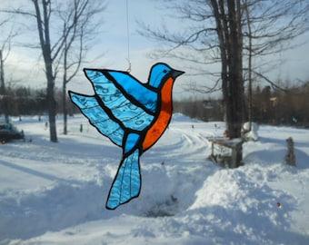 Eastern Bluebird med. stained glass suncatcher