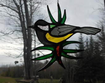 Great Tit/Pine needles stained glass suncatcher